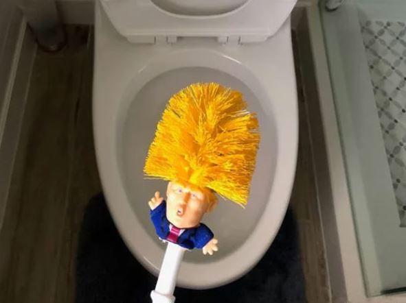 टॉयलेट साफ करण्यासाठी डोनाल्ड ट्रम्प ब्रश