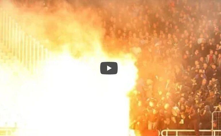 VIDEO : पराभव जिव्हारी, चाहत्यांकडून स्टेडियमध्ये बॉम्ब हल्ला