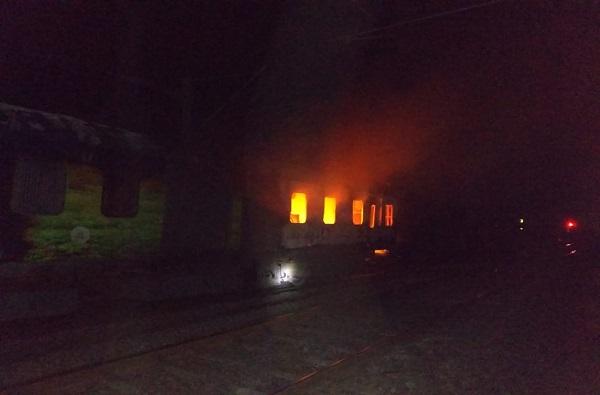 राजधानी एक्स्प्रेसला भीषण आग