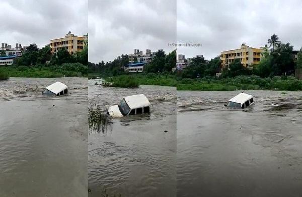 VIDEO : नवी मुंबईत ड्रायव्हरसह स्कार्पिओ नदीपात्रात अडकली
