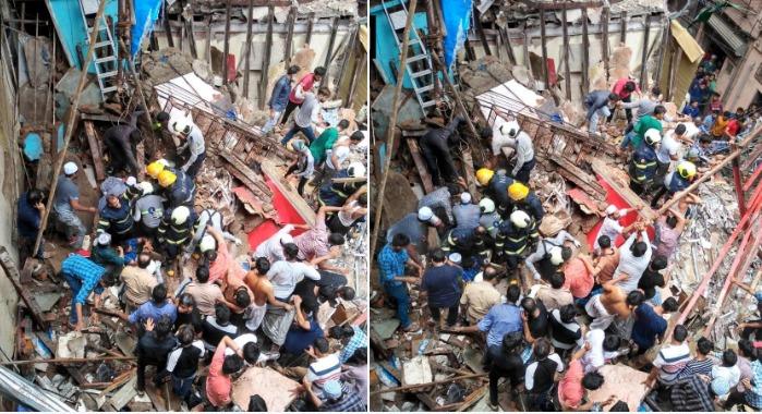 फोटो : मुंबईतील डोंगरीत 4 मजली म्हाडाची इमारत कोसळली