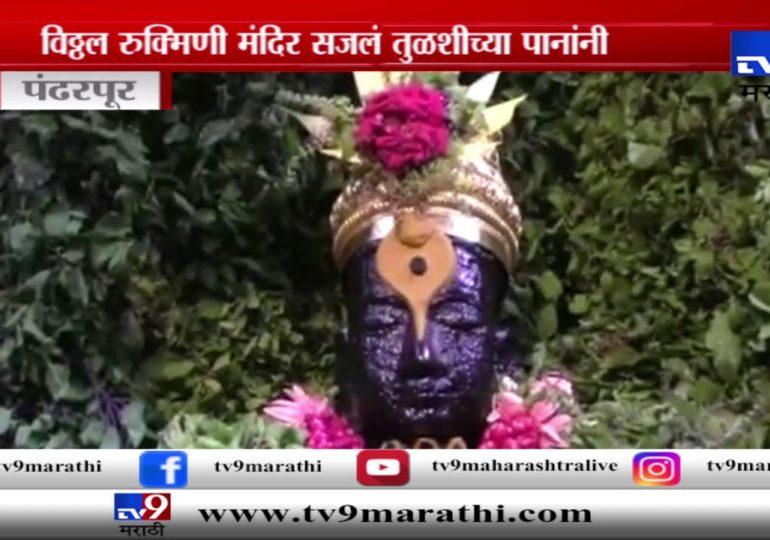 Navratri 2019 : पंढरपुरात विठ्ठल-रखुमाई मंदिराला 25 लाख तुळशीच्या पानांची सजावट