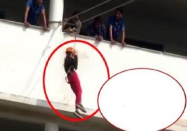 VIDEO : अॅडवेंचर स्पोर्टसदरम्यान विद्यार्थिनी दुसऱ्या मजल्यावरुन पडली