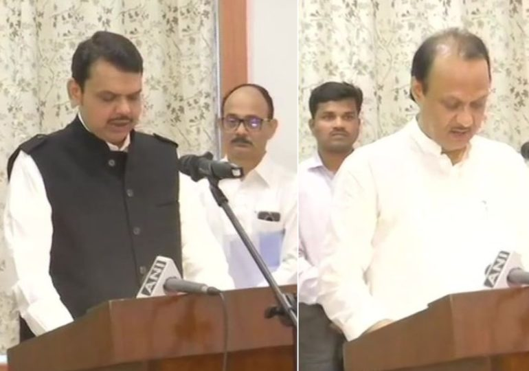 महाराष्ट्रात राजकीय भूकंप, देवेंद्र फडणवीस मुख्यमंत्री, अजित पवार उपमुख्यमंत्री