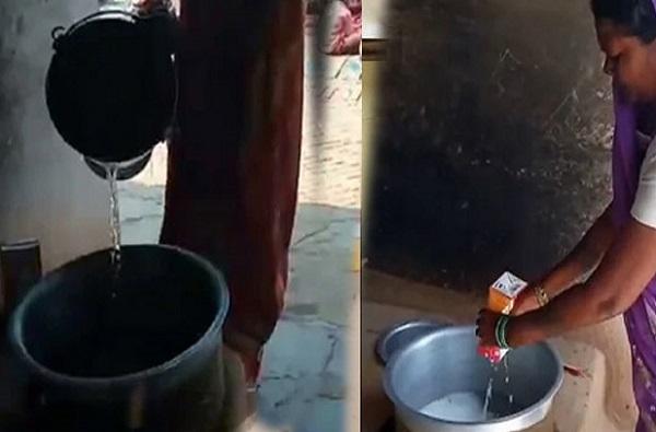 धक्कादायक : 1 लिटर दुधात बादलीभर पाणी, मध्यान्न भोजन म्हणून 81 मुलांना वाटप