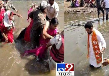 कोल्हापुरात खासदार धैर्यशील मानेंसमोर आंदोलक महिलांच्या पंचगंगा नदीत उड्या