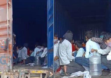 एका कंटेनरमध्ये तब्बल 300 मजूर कोंबले,  पोलिसांनी रोखल्यानंतर धक्कादायक चित्र समोर