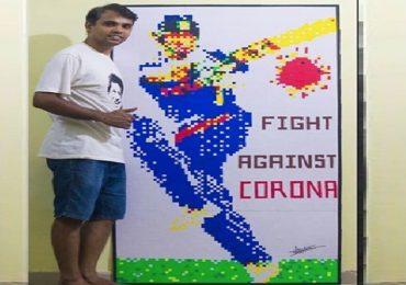 #HappyBirthdaySachin : 'कोरोना'ला फटकावण्याचा संदेश, सचिन तेंडुलकरच्या 'जबरा फॅन'ची कलाकृती