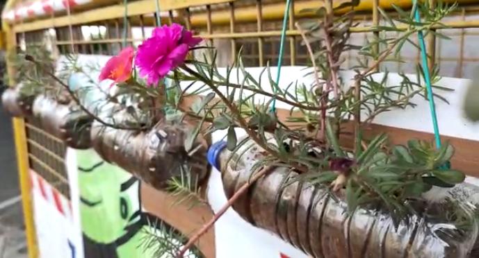 लॉकडाऊनदरम्यान रस्त्यावर प्लास्टिकच्या बाटल्यांचा खच, नाशिकच्या पोलीस पठ्ठ्याने बाटलीतून बाग फुलवली