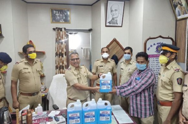 Police Constable Distribute Sanitizer
