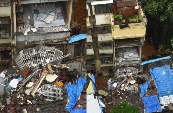 मुंबईत मुसळधार पावसाने इमारतीचे 2 मजले कोसळले, घरांतील माणसं धावतपळत बाहेर