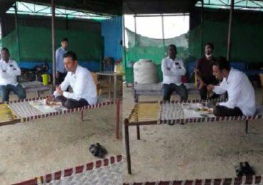 ध्वजारोहणानंतर परतताना मध्येच ब्रेक, बंद धाब्याबाहेर बसून मंत्री शंकरराव गडाखांनी डबा खाल्ला