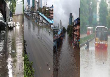 Mumbai Rains : मुंबईतील रस्ते जलमय, रेल्वे सेवा, रस्ते वाहतूक कोलमडली