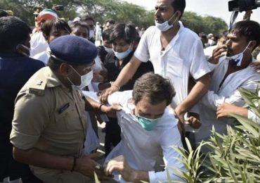 Hathras Gang Rape Protest | कॉलर पकडून खेचाखेची ते धक्काबुक्की, राहुल गांधी जमिनीवर कोसळले
