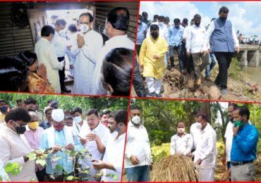 Photo| मुख्यमंत्री, विरोधी पक्षनेत्यांसह शेतकरी नेते बांधावर, सर्वपक्षीय नेत्यांकडून नुकसानाचा आढावा