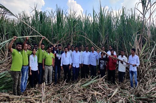 Company officers guidance to sugarcane farmers in Pune
