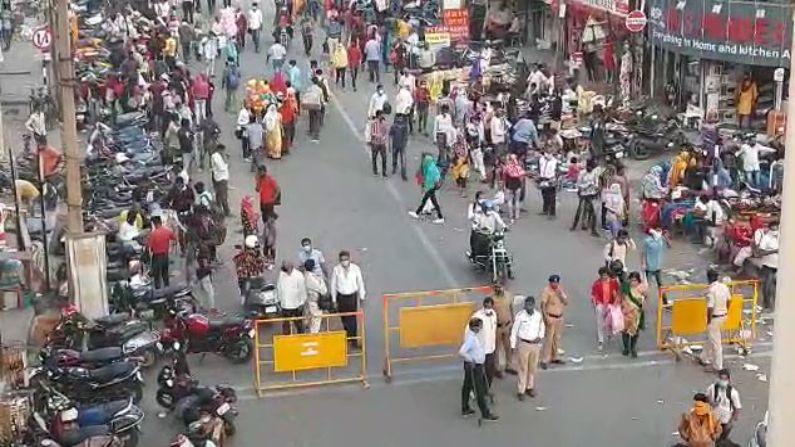 सीताबर्डी मुख्य बाजारपेठेत चिक्कार गर्दी